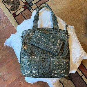 American West leather handbag w/matching wallet